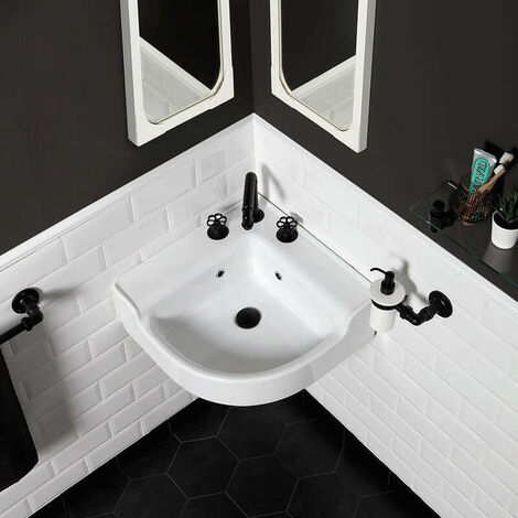 Lavabo d'angle style industriel en céramique 50 cm - Industrialis