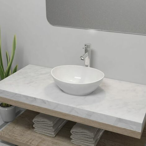 Lavabo de baño con grifo mezclador cerámica ovalado blanco - Blanco