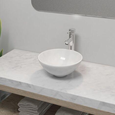 Lavabo de bano con grifo mezclador ceramica redondo blanco