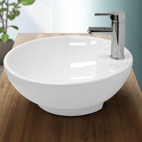 Lavabo de baño lavadero sobremesa fregadero encimera ceramico blanco Ø 455 mm