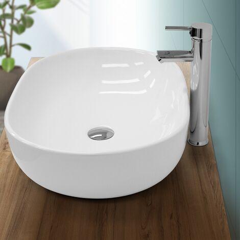 Lavabo de baño lavadero sobremesa fregadero encimera ceramico blanco 600x420 mm