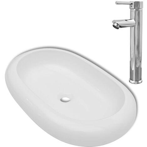 Lavabo de baño ovalado con grifo mezclador cerámica blanco