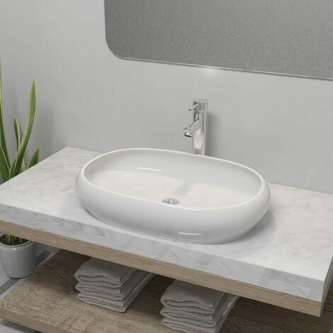 Lavabo de bano ovalado con grifo mezclador ceramica blanco