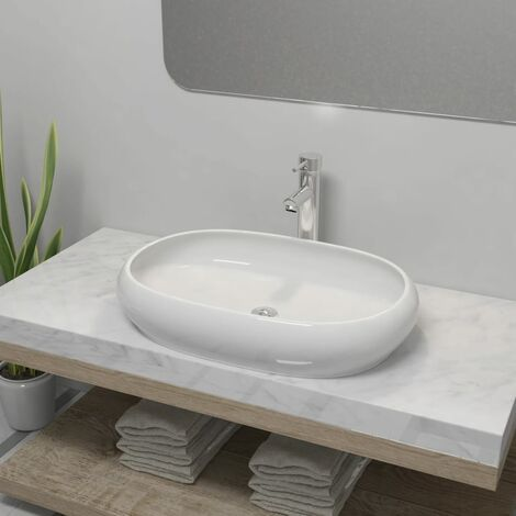Lavabo de baño ovalado con grifo mezclador cerámica blanco - Blanco
