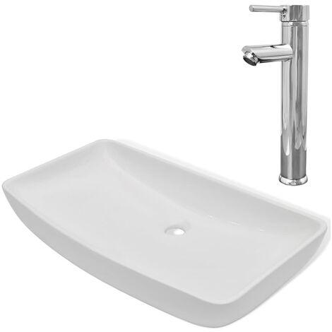 Lavabo de baño rectangular con grifo mezclador cerámica blanco
