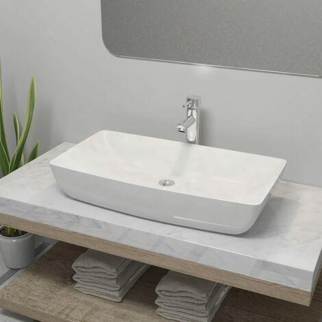 Lavabo de bano rectangular con grifo mezclador ceramica blanco