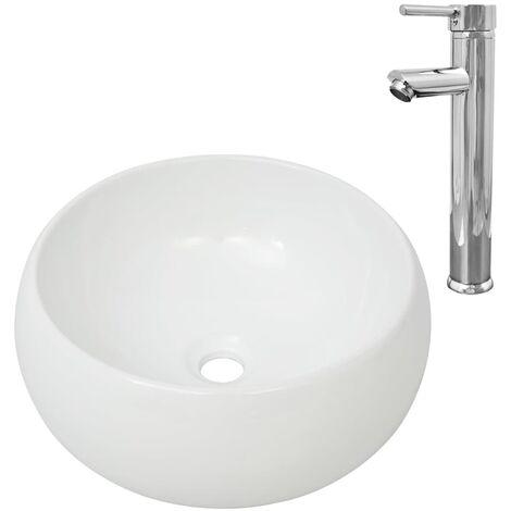 Lavabo de baño redondo con grifo mezclador cerámica blanco