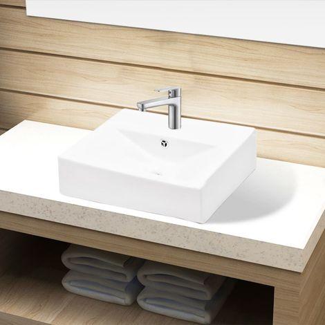 Lavabo de ceramica con agujero para grifo/desague blanco rectangular