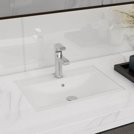 Lavabo de cerámica con agujero para grifo/desagüe blanco rectangular