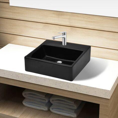 Lavabo de ceramica cuadrado con orificio de grifo/desague negro
