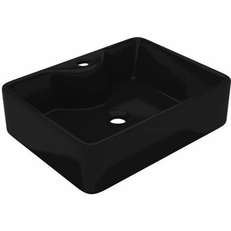 Lavabo de cerámica cuadrado con orificio de grifo/desagüe negro