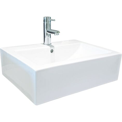 Lavabo de ceramica CUBIC Dimensiones : 41X41X16 cm - Aqua +