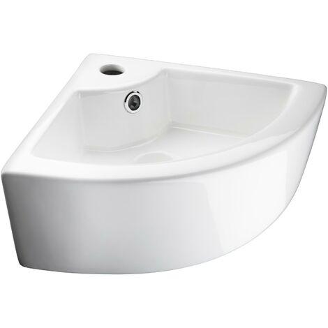 Lavabo de cerámica de esquina - lavamanos para cuarto de baño, pila cerámica con conexiones estándar, palanganero moderno fácil de limpiar - blanco - blanco