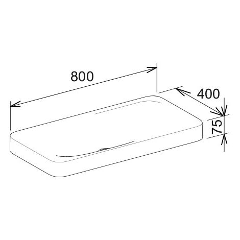 Lavabo de cerámica Keuco Edition 400 31580, sin grifo, blanco, 800x75x400mm - 31580317500