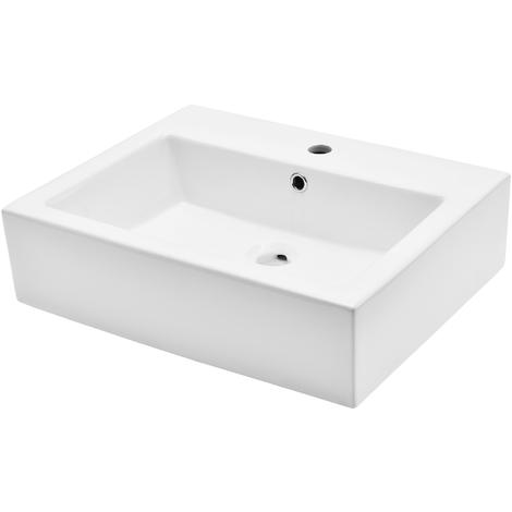 Lavabo de cerámica lujoso en forma rectangular - (57x44cm) blanco - lavabo sobre encimera - montaje de pared