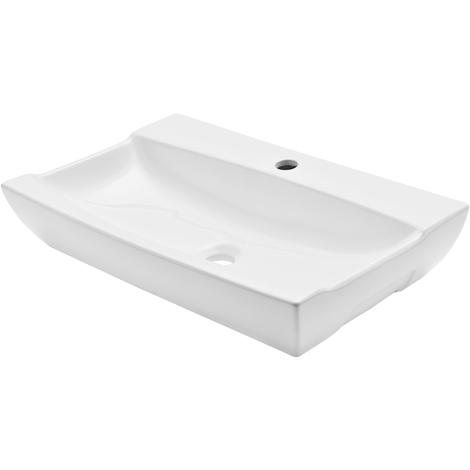 Lavabo de cerámica lujoso rectangular - (62,5 x 39,5 x 12 cm) blanco - adecuado para colocar sobre encimera