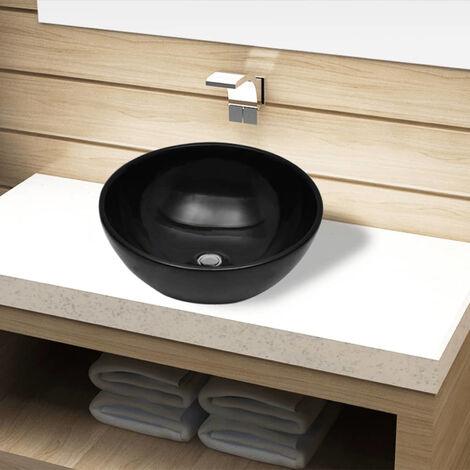 Lavabo de ceramica negro redondo