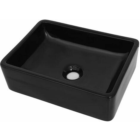 Lavabo de cerámica rectangular negro 41x30x12 cm