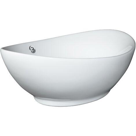 Lavabo de cerámica sobre encimera - lavamanos para cuarto de baño, pila cerámica con conexiones estándar, palanganero moderno fácil de limpiar - blanco