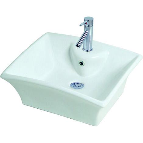 Lavabo de ceramica VESUVE Dimensiones : 48X40X19,5 cm - Aqua +