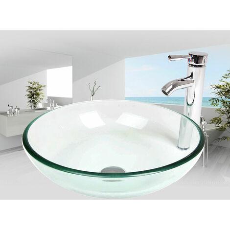 Lavabo de comptoir de salle de bain en verre trempé avec robinet combiné
