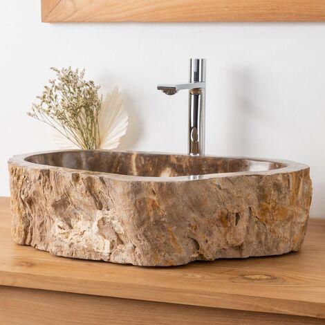 Lavabo de cuarto de baño encimera de madera fosilizada 53 cm