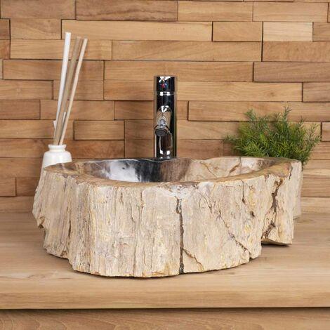 Lavabo de cuarto de baño encimera de madera fosilizada negro
