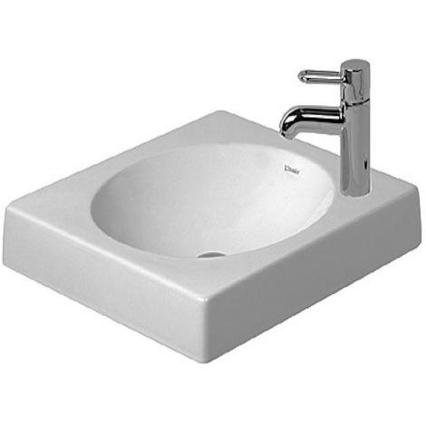 Lavabo de desagüe Duravit Architec de 500 mm sin rebosadero, agujero para grifo preperforado, color: Blanco con Wondergliss - 03205000001