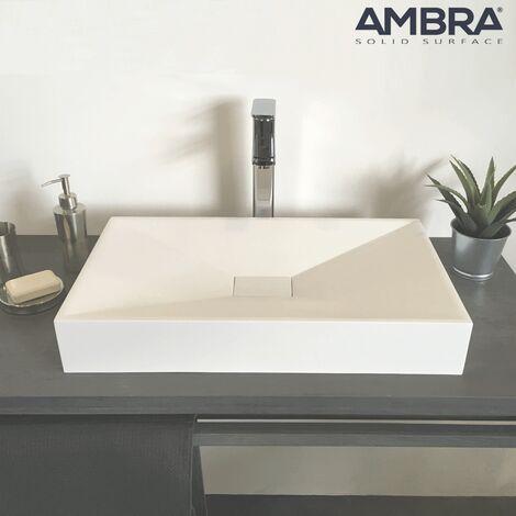 Lavabo de encimera 60 cm en Solid Surface rectangular de Solid Surface – Jade