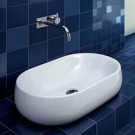 Lavabo de encimera de cerámica 60 cm azzurra ceramica serie Nuvola | Blanco