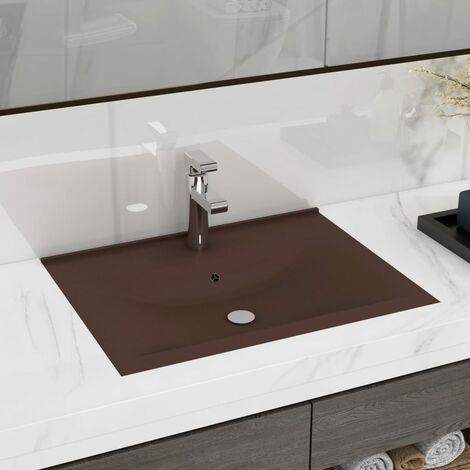 "main image of ""Lavabo de lujo agujero de grifo cerámica marrón oscuro 60x46 cm - Marrón"""