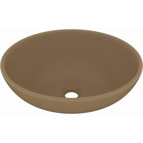 Lavabo de lujo ovalado cerámica crema mate 40x33 cm
