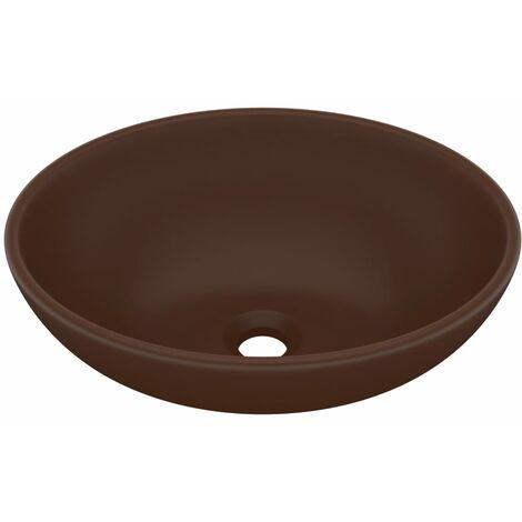 Lavabo de lujo ovalado cerámica marrón oscuro mate 40x33 cm