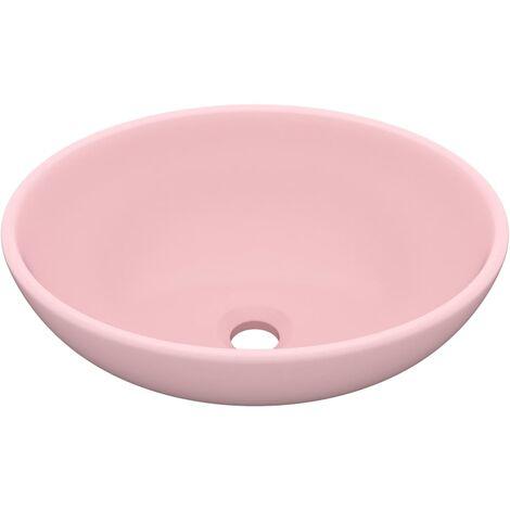 Lavabo de lujo ovalado cerámica rosa mate 40x33 cm