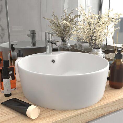 Lavabo de luxe avec trop-plein Blanc mat 36x13 cm Céramique