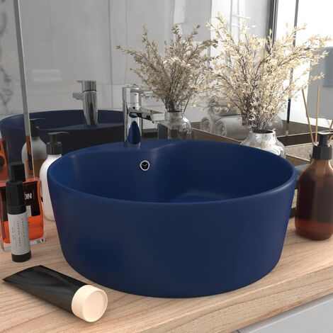 Lavabo de luxe avec trop-plein Bleu foncé mat 36x13cm Céramique