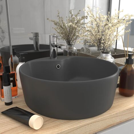 Lavabo de luxe avec trop-plein Gris foncé mat 36x13cm Céramique