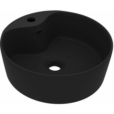 Lavabo de luxe avec trop-plein Noir mat 36x13 cm Céramique