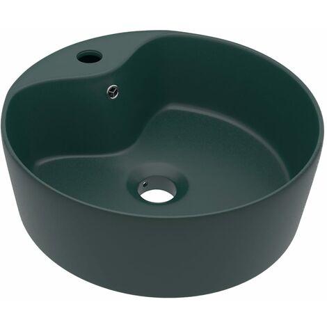 Lavabo de luxe avec trop-plein Vert foncé mat 36x13cm Céramique