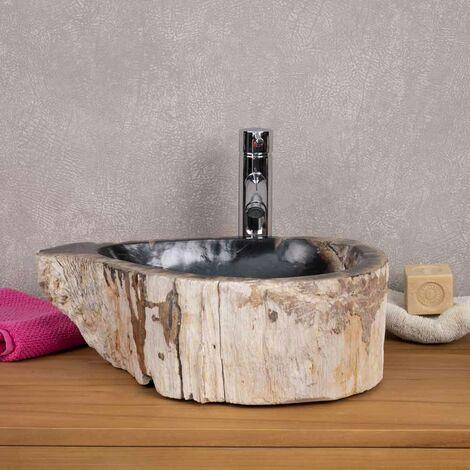 Lavabo de madera fosilizada para cuarto de baño 65 cm - 3829