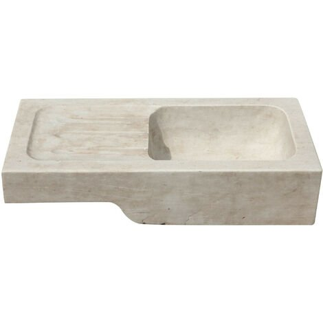 Lavabo de mármol blanco L82xPR41xH18 cm