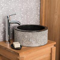 Lavabo de mármol para cuarto de baño ELBA negro 35 cm