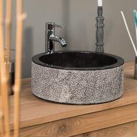 Lavabo de mármol para cuarto de baño ELBA negro 40 cm
