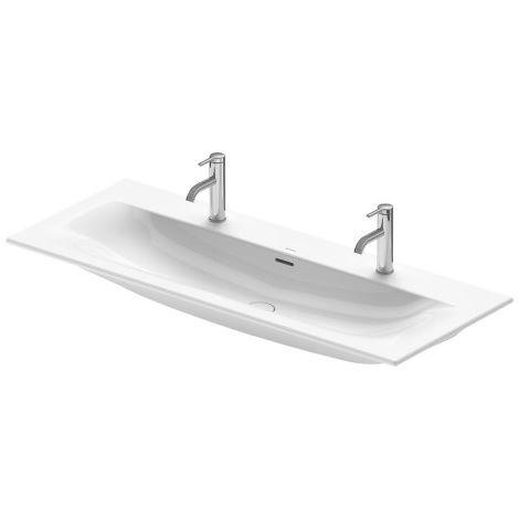 Lavabo de muebles Duravit Viu 234412, 1230 mm, con rebosadero, con banco para grifo, 2 grifos para 2 grifos de un solo agujero, color: Blanco con Wondergliss - 23441200241