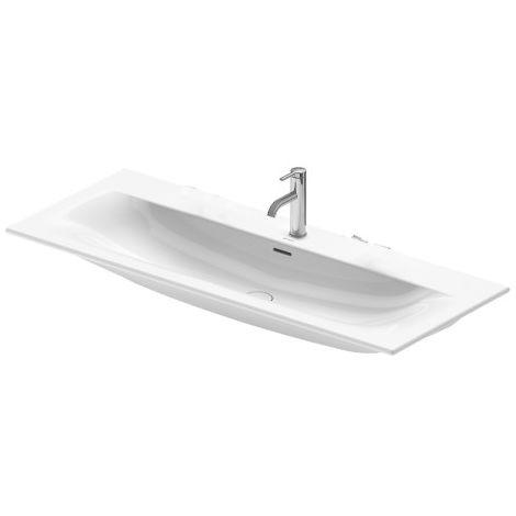 Lavabo de muebles Duravit Viu 234412, 1230 mm, con rebosadero, con banco para grifo, sin grifo, color: Blanco con Wondergliss - 23441200601