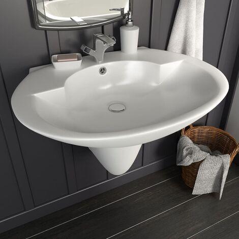 Lavabo de pared de cerámica blanco 690x520x210 mm