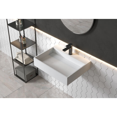 Lavabo de pared PB2080 de piedra sólida (Solid Surface) - 60 x 46 x 13 cm - blanco mate
