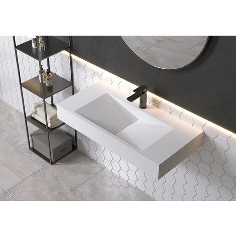 Lavabo de pared rectangular PB2049 de piedra sólida (Solid Surface) - 90 x 45 x 12 cm - blanco mate