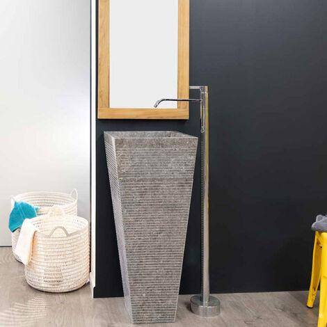 Lavabo de pie piramidal de piedra para cuarto de baño GUIZA gris