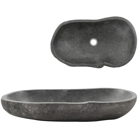Lavabo de piedra de río ovalado 60-70 cm